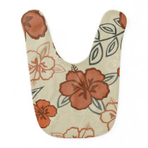 Brown Hawaiian Hibiscus Pattern Bib