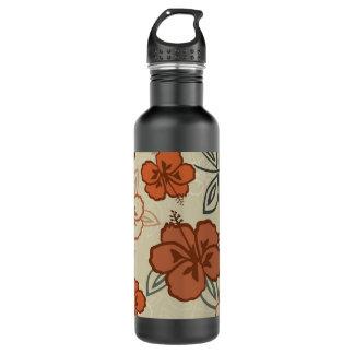 Brown Hawaiian Hibiscus Pattern Water Bottle