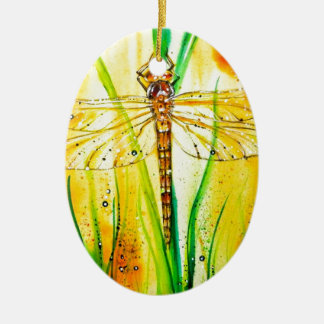 Brown Hawker Dragonfly Double-Sided Oval Ceramic Christmas Ornament