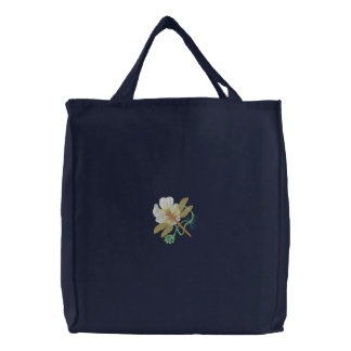 Brown Hawker / White Water Crowfoot Embroidered Tote Bag