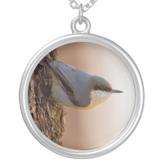 Brown-headed Nuthatch Round Pendant Necklace