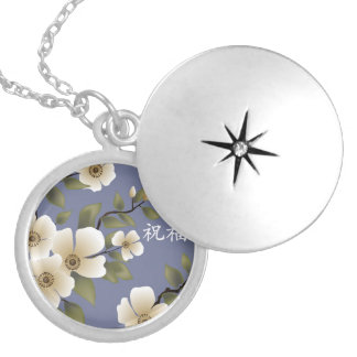 "Brown heart ivory flowers blue ""Blessing"" Round Locket Necklace"