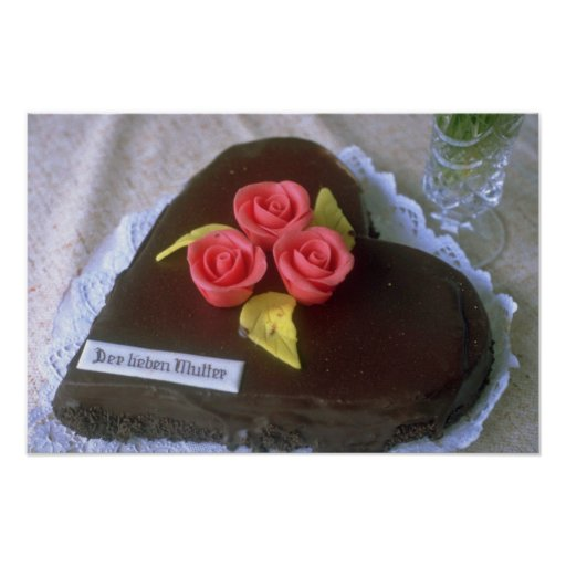 Brown Heart-shaped cake for Mother's Day flowers Posters