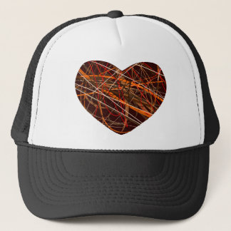 Brown Heart with Red, Black, White, & Orange Lines Trucker Hat