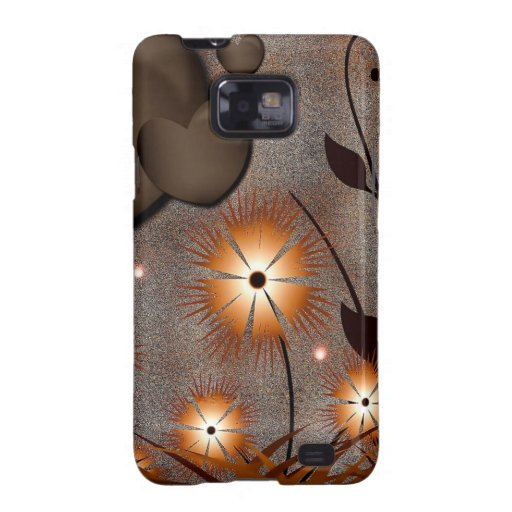 Brown hearts with golden flowers galaxy s2 case