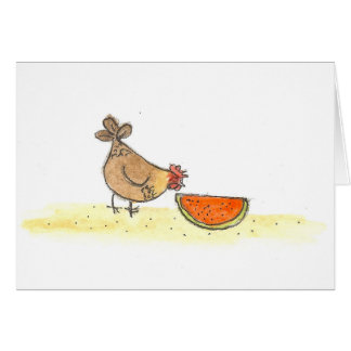 Brown Hen And Watermelon Card
