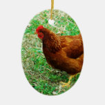 Brown Hen Double-Sided Oval Ceramic Christmas Ornament