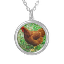 Brown Hen Silver Plated Necklace