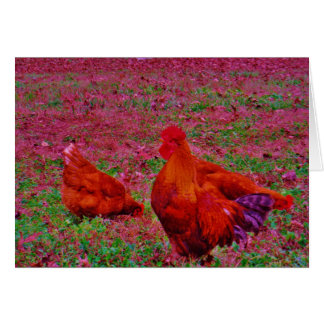 Brown  Hens in the Purple Grass Card