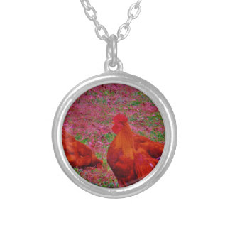 Brown  Hens in the Purple Grass Custom Jewelry