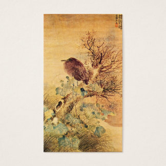 Brown Heron with Hibiscus Flowers Business Card