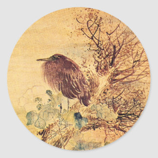 Brown Heron with Hibiscus Flowers Classic Round Sticker