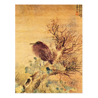 Brown Heron with Hibiscus Flowers Postcard