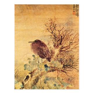 Brown Heron with Hibiscus Flowers Postcard