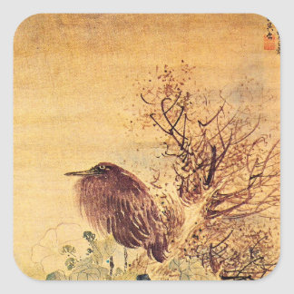 Brown Heron with Hibiscus Flowers Square Sticker