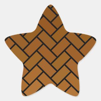Brown Herringbone Bricks Star Sticker