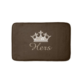Brown Hers Crown Bath Mat