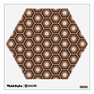 Brown Hex Tiled Wall Decal