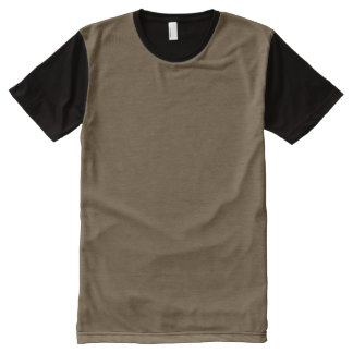 Brown Hide Solid Color All-Over Print T-shirt