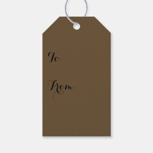 Brown Hide Solid Color Gift Tags