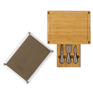 Brown Hide Solid Color Rectangular Cheese Board