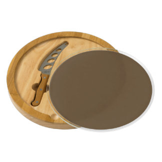 Brown Hide Solid Color Round Cheese Board