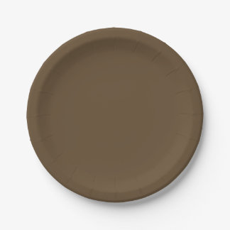 Brown Hide Solid Color 7 Inch Paper Plate
