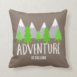 Brown Hiking Camping Adventure is Calling Throw Pillow