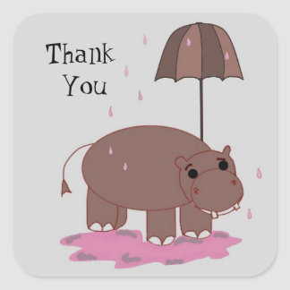 Brown Hippo Thank You Square Stickers
