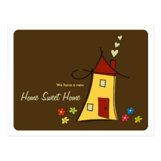 Brown Home Sweet Home / We Moved Postcard