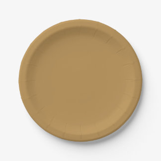 Brown Honey Solid Color Paper Plate