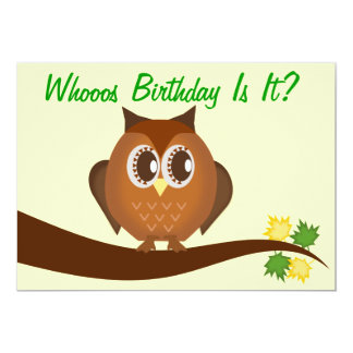 Brown Hoot Owl Birthday Party Invitation