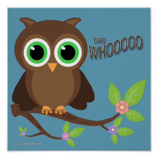 Brown Hoot Owl On A Branch Poster