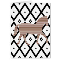 Brown horse - Abstract geometric pattern - black. Card