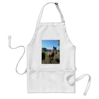 Brown Horse against blue sky Adult Apron