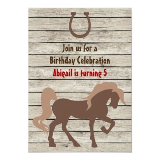 Brown Horse and Barn Wood Girls or Boys Birthday 5x7 Paper Invitation Card