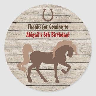 Brown Horse and Barn Wood Girls or Boys Birthday Classic Round Sticker