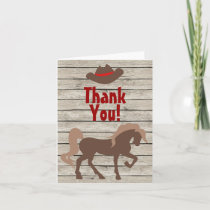 Brown Horse and Cowboy Hat on Barn Wood Western Thank You Card