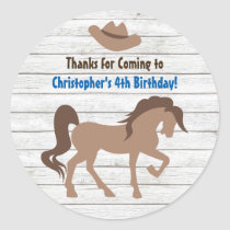 Brown Horse and Cowboy Hat Western Birthday Classic Round Sticker