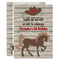 Brown Horse and Cowboy Hat Western Birthday Invitation