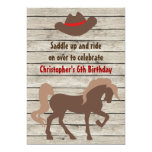 Brown Horse and Cowboy Hat Western Birthday Invite