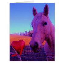Brown Horse and Red Heart Card