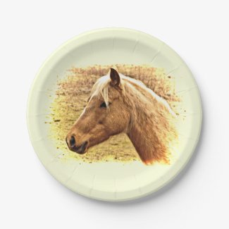 Brown Horse Animal 7 inch Paper Plate