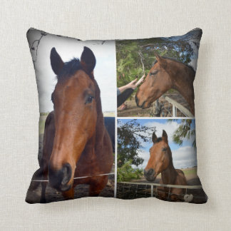 Brown Horse Beauty Photo Collage, Throw Pillow