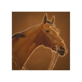 Brown horse chalk pastel wood wall art