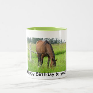 Brown Horse Eatting Grass in a Bright Green Field Two-Tone Coffee Mug
