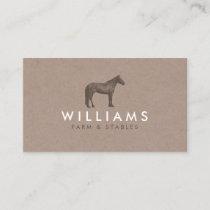 Brown Horse - Farming, Farmer Rustic Business Card
