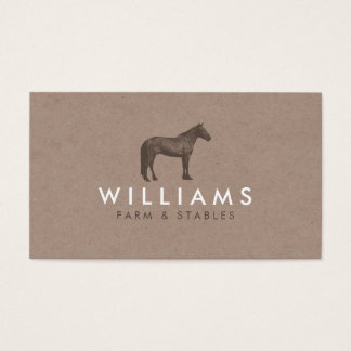 Brown Horse - Farming, Farmer Rustic Business Card