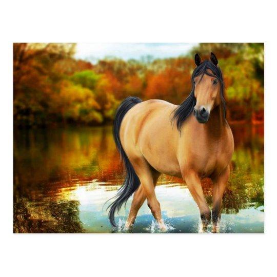 brown horse, flowers,tree postcard