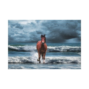 Art Themed Brown Horse Galloping in Ocean Under Storm Clouds Canvas Print